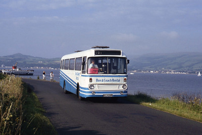 Bus and Coach Rental Dennistoun OSJ628R Leaving Ferry Slip, Cumbrae Aug 91