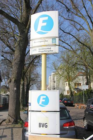 BVG F12 ferry stop Wassersportallee Pier Berlin Apr 16